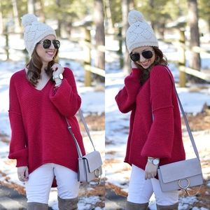 Free People Alpaca Magenta Red All Mine Pullover
